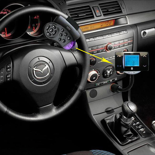 Bluetooth Car Kit Vehicle FM Transmitter MP3 Player Steering Wheel Controller