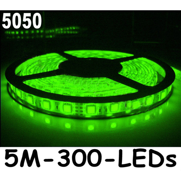 New 5M Car Green/Cool Wihte 5050 SMD LED Waterproof Flexible Strip 12V 300 LEDs