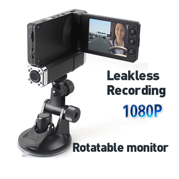 HD 1080p Dual Lens IR Car Dashboard Dash Camera Cam DVR,Rotable Monitor