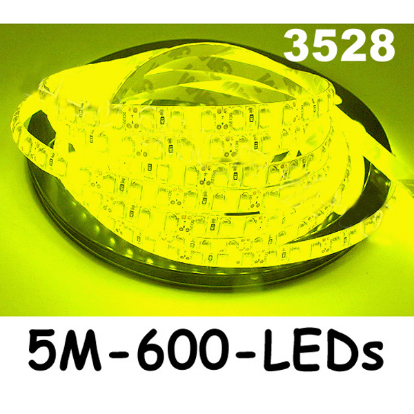 New 5M Car 3528 SMD LED Waterproof Strip 12V 600 LEDs Red/Yellow/Green/Blue