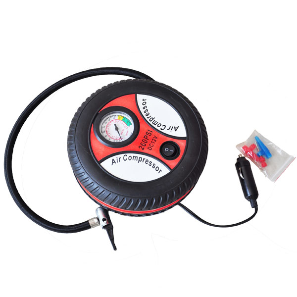 Portable Tire Style Air Compressor with Car Charger (DC 12V)