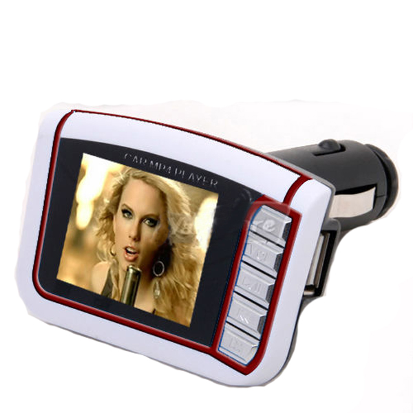 "FM Transmitter SD/MMC 1.8"" LCD Car MP3 MP4 Player White"